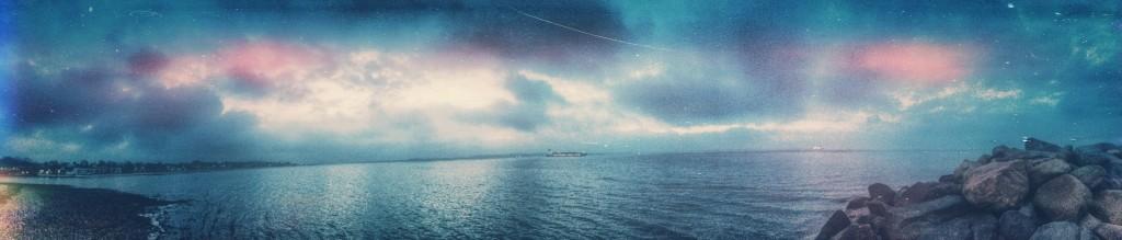 Ferry, leaving the port eastwards