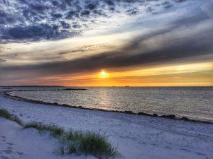 Sunset at sandy beach Heidkate.